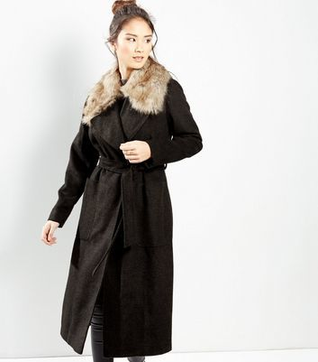 Khaki Faux Fur Collar Belted Longline Coat - pattern: plain; style: wrap around; fit: slim fit; predominant colour: khaki; occasions: casual; fibres: polyester/polyamide - mix; length: below the knee; waist detail: belted waist/tie at waist/drawstring; sleeve length: long sleeve; sleeve style: standard; collar: fur; collar break: medium; pattern type: fabric; texture group: woven bulky/heavy; season: a/w 2016