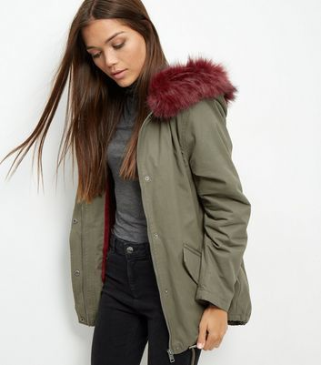 Khaki Faux Fur Trim Hooded Parka - pattern: plain; length: below the bottom; fit: loose; style: parka; back detail: hood; collar: high neck; secondary colour: burgundy; predominant colour: khaki; occasions: casual; fibres: cotton - 100%; sleeve length: long sleeve; sleeve style: standard; texture group: technical outdoor fabrics; collar break: high; pattern type: fabric; multicoloured: multicoloured; season: a/w 2016