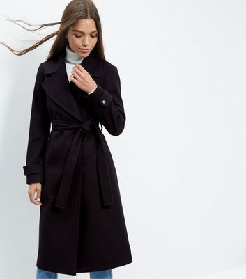 Navy Wide Collar Wrap Front Longline Coat - pattern: plain; collar: wide lapels; style: wrap around; fit: slim fit; predominant colour: navy; occasions: casual; fibres: polyester/polyamide - mix; length: below the knee; waist detail: belted waist/tie at waist/drawstring; sleeve length: long sleeve; sleeve style: standard; collar break: medium; pattern type: fabric; texture group: woven bulky/heavy; season: a/w 2016