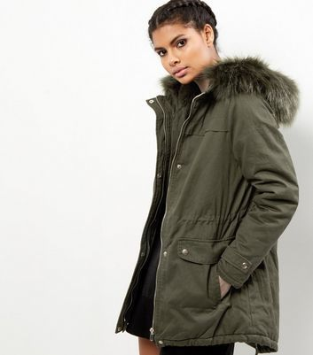 Khaki Faux Fur Trim Hooded Parka - pattern: plain; length: below the bottom; collar: funnel; fit: loose; style: parka; back detail: hood; predominant colour: khaki; occasions: casual; fibres: cotton - 100%; waist detail: belted waist/tie at waist/drawstring; sleeve length: long sleeve; sleeve style: standard; collar break: high; pattern type: fabric; texture group: woven bulky/heavy; wardrobe: basic; season: a/w 2016