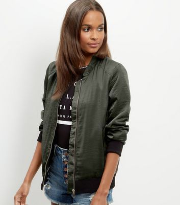 Khaki Sateen Bomber Jacket - pattern: plain; collar: round collar/collarless; style: bomber; predominant colour: dark green; occasions: casual, creative work; length: standard; fit: tailored/fitted; fibres: polyester/polyamide - 100%; sleeve length: long sleeve; sleeve style: standard; texture group: technical outdoor fabrics; collar break: high; pattern type: fabric; season: a/w 2016; wardrobe: highlight