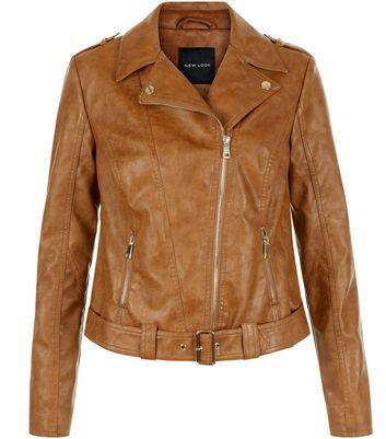 Tan Leather Look Biker Jacket - pattern: plain; style: biker; collar: asymmetric biker; fit: slim fit; predominant colour: camel; occasions: casual; length: standard; sleeve length: long sleeve; sleeve style: standard; texture group: leather; collar break: medium; pattern type: fabric; fibres: pvc/polyurethene - 100%; wardrobe: basic; season: a/w 2016