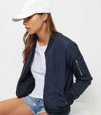 Navy Padded Bomber Jacket - pattern: plain; collar: round collar/collarless; fit: slim fit; style: bomber; predominant colour: navy; occasions: casual; length: standard; fibres: polyester/polyamide - 100%; sleeve length: long sleeve; sleeve style: standard; collar break: high; pattern type: fabric; texture group: other - light to midweight; wardrobe: basic; season: a/w 2016