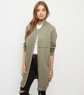 Khaki Drawstring Longline Bomber Jacket - pattern: plain; collar: round collar/collarless; length: below the bottom; fit: slim fit; style: bomber; predominant colour: khaki; occasions: casual; sleeve length: long sleeve; sleeve style: standard; collar break: high; pattern type: fabric; texture group: woven light midweight; fibres: viscose/rayon - mix; season: a/w 2016