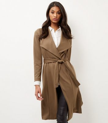 Khaki Split Side Waterfall Coat - pattern: plain; collar: wide lapels; length: on the knee; style: wrap around; fit: slim fit; predominant colour: camel; occasions: casual; fibres: polyester/polyamide - stretch; waist detail: belted waist/tie at waist/drawstring; sleeve length: long sleeve; sleeve style: standard; collar break: medium; pattern type: fabric; texture group: woven bulky/heavy; wardrobe: basic; season: a/w 2016