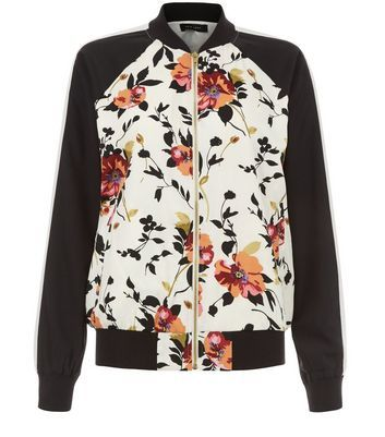 White Floral Print Contrast Sleeve Bomber Jacket - collar: round collar/collarless; fit: slim fit; style: bomber; secondary colour: white; predominant colour: black; occasions: casual; length: standard; fibres: polyester/polyamide - 100%; waist detail: belted waist/tie at waist/drawstring; sleeve length: long sleeve; sleeve style: standard; collar break: high; pattern type: fabric; pattern: florals; texture group: woven light midweight; multicoloured: multicoloured; season: a/w 2016