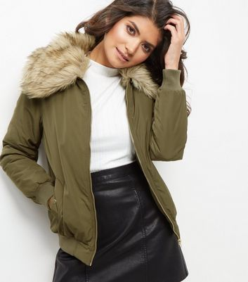 Khaki Faux Fur Collar Bomber Jacket - pattern: plain; collar: round collar/collarless; fit: slim fit; style: bomber; predominant colour: khaki; occasions: casual; length: standard; fibres: polyester/polyamide - 100%; sleeve length: long sleeve; sleeve style: standard; collar break: high; pattern type: fabric; texture group: woven light midweight; embellishment: fur; season: a/w 2016; wardrobe: highlight; embellishment location: neck