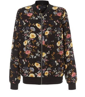 Black Floral Print Bomber Jacket - collar: round collar/collarless; fit: loose; length: above the knee; style: bomber; secondary colour: primrose yellow; predominant colour: black; occasions: casual; fibres: polyester/polyamide - stretch; sleeve length: long sleeve; sleeve style: standard; collar break: high; pattern type: fabric; pattern: florals; texture group: woven light midweight; multicoloured: multicoloured; season: a/w 2016; wardrobe: highlight