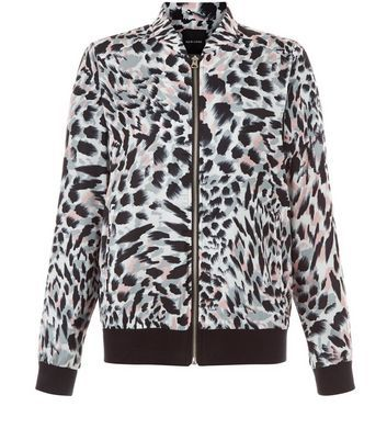 White Animal Print Bomber Jacket - collar: round collar/collarless; fit: slim fit; style: bomber; predominant colour: white; secondary colour: black; occasions: casual; length: standard; fibres: polyester/polyamide - 100%; sleeve length: long sleeve; sleeve style: standard; collar break: high; pattern type: fabric; pattern size: standard; pattern: animal print; texture group: woven light midweight; multicoloured: multicoloured; season: a/w 2016; wardrobe: highlight