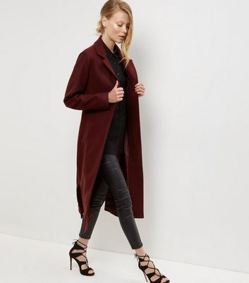 Burgundy Bar Back Split Side Maxi Coat - pattern: plain; fit: loose; style: single breasted; collar: standard lapel/rever collar; length: calf length; predominant colour: burgundy; occasions: casual; fibres: acrylic - mix; sleeve length: long sleeve; sleeve style: standard; collar break: medium; pattern type: fabric; texture group: woven bulky/heavy; season: a/w 2016; wardrobe: highlight