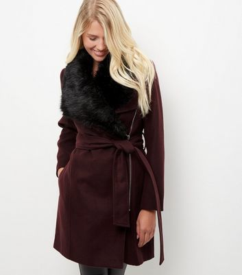 Burgundy Faux Fur Collar Longline Belted Coat - pattern: plain; length: on the knee; style: wrap around; fit: slim fit; predominant colour: burgundy; occasions: casual; fibres: polyester/polyamide - 100%; waist detail: belted waist/tie at waist/drawstring; sleeve length: long sleeve; sleeve style: standard; collar: fur; collar break: medium; pattern type: fabric; texture group: woven bulky/heavy; season: a/w 2016; wardrobe: highlight