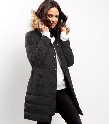 Black Borg Lined Padded Faux Fur Trim Puffer Coat - pattern: plain; collar: funnel; style: quilted; length: on the knee; fit: slim fit; predominant colour: black; occasions: casual; fibres: polyester/polyamide - 100%; waist detail: belted waist/tie at waist/drawstring; sleeve length: long sleeve; sleeve style: standard; collar break: high; pattern type: fabric; texture group: woven bulky/heavy; embellishment: fur; season: a/w 2016; wardrobe: highlight