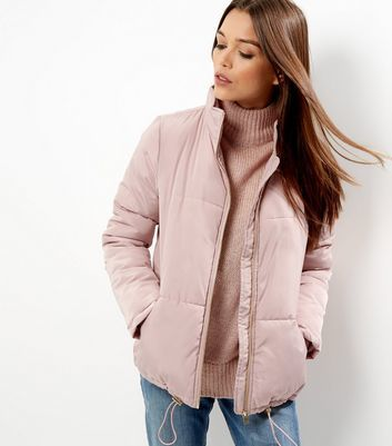 Shell Pink Padded Puffer Jacket - pattern: plain; length: standard; collar: funnel; fit: loose; predominant colour: blush; occasions: casual; fibres: cotton - mix; sleeve length: long sleeve; sleeve style: standard; collar break: high; pattern type: fabric; texture group: woven bulky/heavy; style: puffa; wardrobe: basic; season: a/w 2016