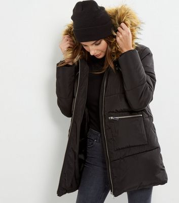 Black Faux Fur Trim Quilted Puffer Jacket - pattern: plain; fit: loose; back detail: hood; collar: high neck; length: mid thigh; predominant colour: black; occasions: casual; fibres: polyester/polyamide - 100%; sleeve length: long sleeve; sleeve style: standard; collar break: high; pattern type: fabric; texture group: woven bulky/heavy; style: puffa; embellishment: fur; season: a/w 2016; wardrobe: highlight; embellishment location: neck