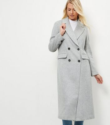 Grey Button Front Longline Coat - pattern: plain; style: double breasted; collar: standard lapel/rever collar; predominant colour: light grey; occasions: casual; fit: tailored/fitted; fibres: polyester/polyamide - mix; length: below the knee; sleeve length: long sleeve; sleeve style: standard; collar break: medium; pattern type: fabric; texture group: woven bulky/heavy; wardrobe: basic; season: a/w 2016