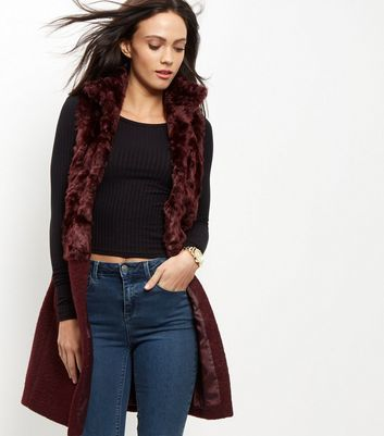 Burgundy Faux Fur Panel Gilet - pattern: plain; sleeve style: sleeveless; style: gilet; fit: loose; predominant colour: burgundy; occasions: casual, creative work; fibres: acrylic - mix; length: mid thigh; sleeve length: sleeveless; texture group: fur; collar: fur; collar break: low/open; pattern type: fabric; embellishment: fur; season: a/w 2016; wardrobe: highlight; embellishment location: neck