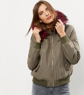 Khaki Faux Fur Trim Hooded Bomber Jacket - pattern: plain; collar: round collar/collarless; back detail: hood; fit: slim fit; style: bomber; secondary colour: burgundy; predominant colour: khaki; occasions: casual; length: standard; fibres: polyester/polyamide - 100%; sleeve length: long sleeve; sleeve style: standard; texture group: cotton feel fabrics; collar break: high; pattern type: fabric; embellishment: fur; multicoloured: multicoloured; season: a/w 2016