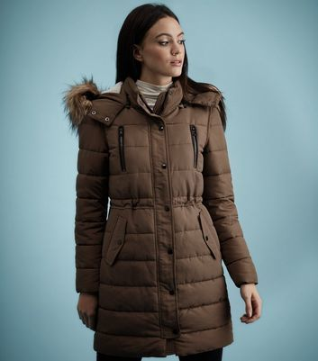 Mink Borg Lined Padded Faux Fur Trim Puffer Coat - pattern: plain; collar: funnel; style: quilted; back detail: hood; fit: slim fit; length: mid thigh; predominant colour: chocolate brown; occasions: casual; fibres: polyester/polyamide - 100%; waist detail: belted waist/tie at waist/drawstring; sleeve length: long sleeve; sleeve style: standard; collar break: high; pattern type: fabric; texture group: woven bulky/heavy; embellishment: fur; season: a/w 2016