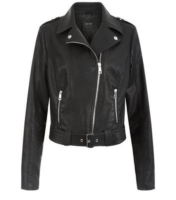 Black Leather Look Belted Biker Jacket - pattern: plain; style: biker; collar: asymmetric biker; predominant colour: black; occasions: casual, creative work; length: standard; fit: tailored/fitted; fibres: polyester/polyamide - 100%; sleeve length: long sleeve; sleeve style: standard; texture group: leather; collar break: medium; pattern type: fabric; wardrobe: basic; season: a/w 2016