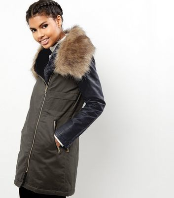Khaki Leather Look Sleeve Faux Fur Collar Parka - pattern: plain; fit: loose; style: parka; length: mid thigh; predominant colour: khaki; secondary colour: black; occasions: casual; fibres: cotton - 100%; sleeve length: long sleeve; sleeve style: standard; texture group: leather; collar: fur; collar break: high/illusion of break when open; pattern type: fabric; embellishment: fur; multicoloured: multicoloured; season: a/w 2016; wardrobe: highlight; embellishment location: neck
