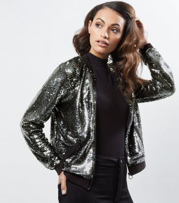 Anita And Green Grey Sequin Bomber Jacket - pattern: plain; collar: round collar/collarless; fit: slim fit; style: bomber; predominant colour: mid grey; occasions: casual, evening, creative work; length: standard; fibres: polyester/polyamide - 100%; sleeve length: long sleeve; sleeve style: standard; collar break: high; pattern type: fabric; texture group: other - light to midweight; embellishment: sequins; season: a/w 2016; wardrobe: highlight; embellishment location: all over