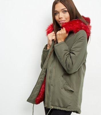 Khaki Bright Faux Fur Trim Parka - pattern: plain; length: below the bottom; fit: loose; style: parka; back detail: hood; secondary colour: true red; predominant colour: khaki; occasions: casual; fibres: polyester/polyamide - 100%; sleeve length: long sleeve; sleeve style: standard; collar: fur; collar break: high; pattern type: fabric; texture group: woven bulky/heavy; multicoloured: multicoloured; season: a/w 2016