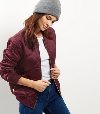 Burgundy Quilted Padded Bomber Jacket - pattern: plain; collar: round collar/collarless; fit: loose; style: bomber; predominant colour: burgundy; occasions: casual; length: standard; fibres: polyester/polyamide - stretch; sleeve length: long sleeve; sleeve style: standard; collar break: high; pattern type: fabric; texture group: woven light midweight; embellishment: quilted; season: a/w 2016; wardrobe: highlight