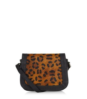 Brown Premium Leather Leopard Print Saddle Bag - predominant colour: black; occasions: casual, creative work; type of pattern: standard; style: saddle; length: across body/long; size: standard; material: leather; pattern: animal print; finish: plain; season: a/w 2016