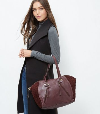 Burgundy Leather Zip Trim Bowler Bag - predominant colour: burgundy; occasions: casual, work, creative work; type of pattern: standard; style: tote; length: shoulder (tucks under arm); size: oversized; material: faux leather; pattern: plain; finish: plain; season: a/w 2016; wardrobe: highlight