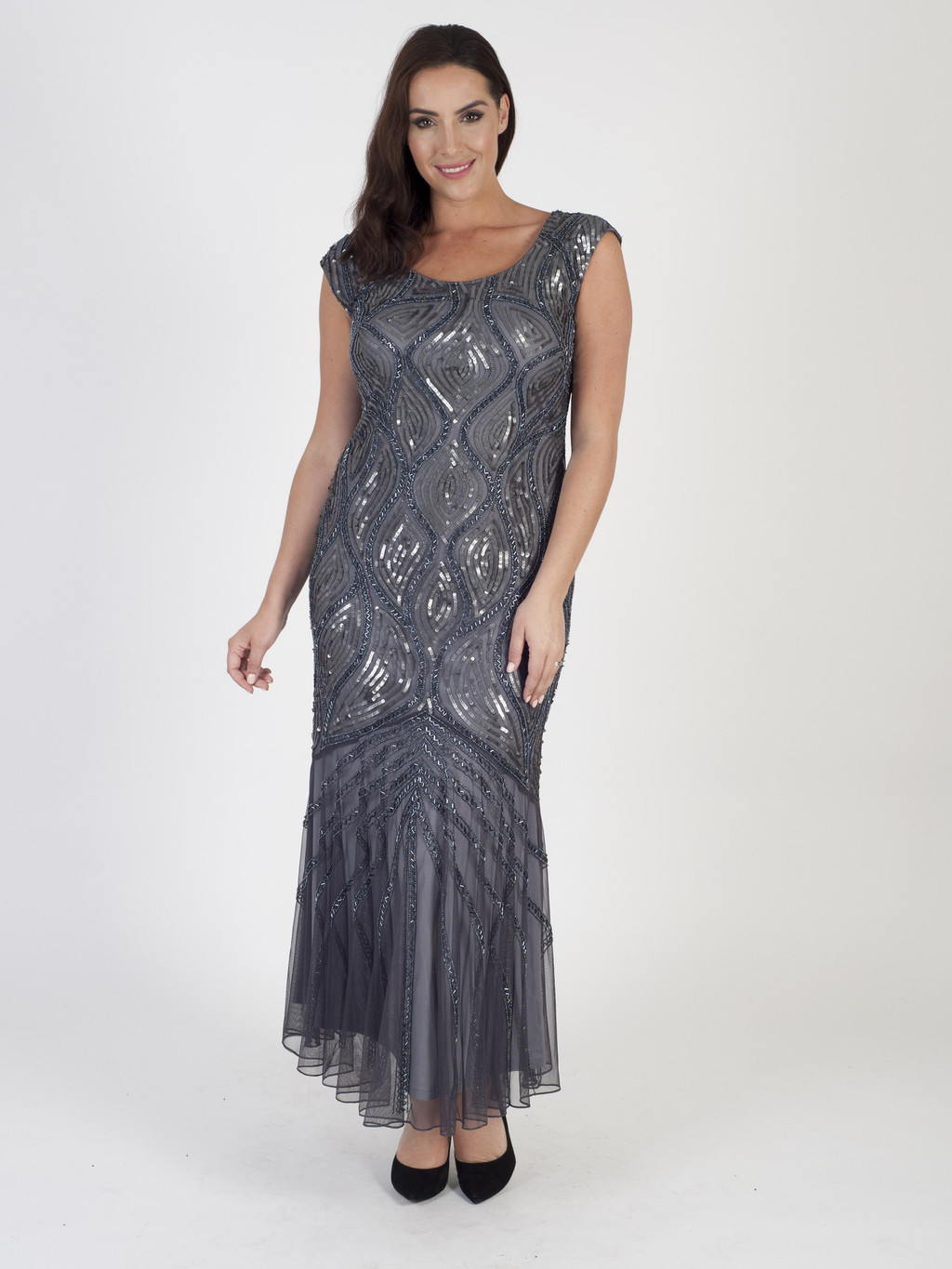 Dark Grey Beaded Mesh Dress (Pre Order October 27th) - neckline: round neck; pattern: plain; sleeve style: sleeveless; style: maxi dress; length: ankle length; predominant colour: mid grey; occasions: evening; fit: body skimming; fibres: polyester/polyamide - 100%; sleeve length: sleeveless; pattern type: fabric; texture group: jersey - stretchy/drapey; embellishment: beading; season: a/w 2016