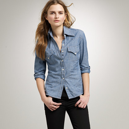 The Jean Shop® Chambray Shirt - neckline: shirt collar/peter pan/zip with opening; pattern: plain; style: shirt; predominant colour: denim; occasions: casual; length: standard; fibres: cotton - 100%; fit: body skimming; sleeve length: long sleeve; sleeve style: standard; texture group: denim; pattern type: fabric; wardrobe: basic; season: a/w 2016