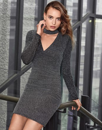 Long Sleeve Glitter Choker Dress - style: shift; length: mid thigh; neckline: low v-neck; fit: tight; pattern: plain; predominant colour: charcoal; occasions: evening; fibres: polyester/polyamide - 100%; sleeve length: long sleeve; sleeve style: standard; texture group: knits/crochet; pattern type: fabric; pattern size: standard; season: a/w 2016; wardrobe: event