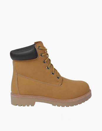Hiker Boots - predominant colour: camel; occasions: casual; material: faux leather; heel height: flat; heel: standard; toe: round toe; boot length: ankle boot; style: hiking; finish: plain; pattern: plain; wardrobe: basic; season: a/w 2016