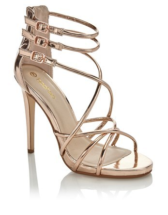 Asymmetric Strappy Gladiator Sandal - predominant colour: bronze; occasions: evening; material: faux leather; heel height: high; ankle detail: ankle strap; heel: stiletto; toe: open toe/peeptoe; style: strappy; finish: metallic; pattern: plain; season: a/w 2016; wardrobe: event