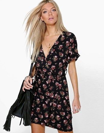 Floral Batwing Wrap Tie Waist Dress - style: faux wrap/wrap; neckline: low v-neck; pattern: horizontal stripes; secondary colour: pink; predominant colour: black; occasions: casual; length: just above the knee; fit: body skimming; fibres: viscose/rayon - stretch; sleeve length: short sleeve; sleeve style: standard; pattern type: fabric; texture group: jersey - stretchy/drapey; multicoloured: multicoloured; season: a/w 2016; wardrobe: highlight
