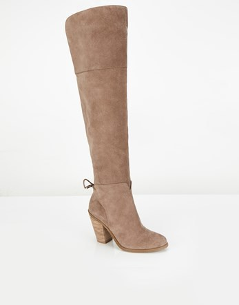High Leg Boots - predominant colour: stone; occasions: casual; material: suede; heel height: high; heel: block; toe: round toe; boot length: over the knee; style: standard; finish: plain; pattern: plain; wardrobe: investment; season: a/w 2016