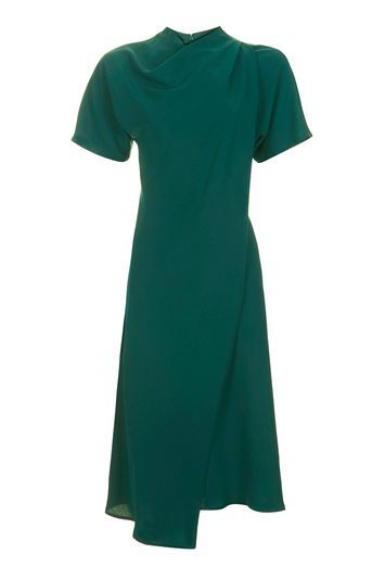 High Neck Drape Midi Dress - style: shift; length: below the knee; pattern: plain; neckline: high neck; predominant colour: dark green; occasions: evening, creative work; fit: body skimming; fibres: polyester/polyamide - 100%; sleeve length: short sleeve; sleeve style: standard; pattern type: fabric; pattern size: standard; texture group: jersey - stretchy/drapey; trends: chic girl; season: a/w 2016; wardrobe: highlight