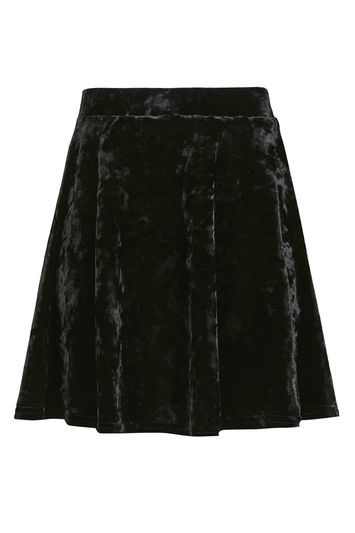Velvet Flippy Skirt - length: mini; pattern: plain; fit: loose/voluminous; waist: high rise; predominant colour: black; occasions: evening; style: a-line; fibres: polyester/polyamide - stretch; waist detail: narrow waistband; pattern type: fabric; texture group: velvet/fabrics with pile; trends: pretty girl, velvet; season: a/w 2016; wardrobe: event