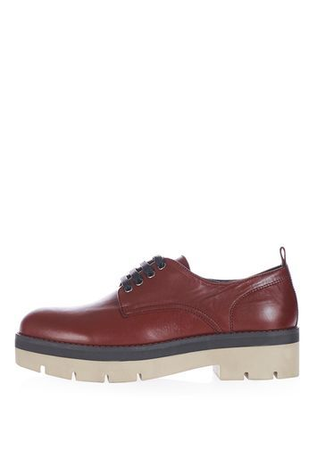 Kloud Chunky Shoes - predominant colour: burgundy; occasions: casual, creative work; material: faux leather; heel height: flat; toe: round toe; finish: plain; pattern: plain; style: lace ups; shoe detail: platform with tread; season: a/w 2016; wardrobe: highlight