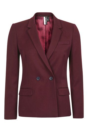 Petite Tailored Suit Jacket - pattern: plain; style: double breasted blazer; collar: standard lapel/rever collar; predominant colour: burgundy; length: standard; fit: tailored/fitted; fibres: polyester/polyamide - stretch; sleeve length: long sleeve; sleeve style: standard; collar break: medium; pattern type: fabric; texture group: woven light midweight; occasions: creative work; wardrobe: investment; season: a/w 2016