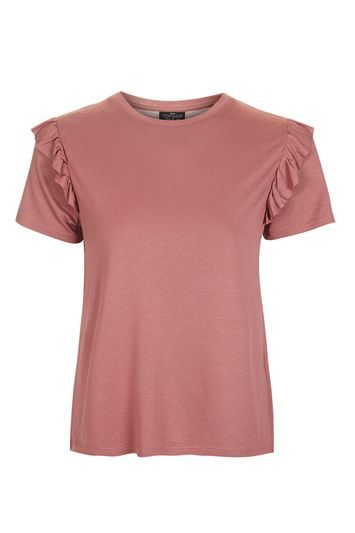 Petite Frill Sleeve T Shirt - pattern: plain; style: t-shirt; predominant colour: pink; occasions: casual; length: standard; fibres: viscose/rayon - 100%; fit: body skimming; neckline: crew; shoulder detail: bulky shoulder detail; sleeve length: short sleeve; sleeve style: standard; pattern type: fabric; texture group: jersey - stretchy/drapey; season: a/w 2016; wardrobe: highlight
