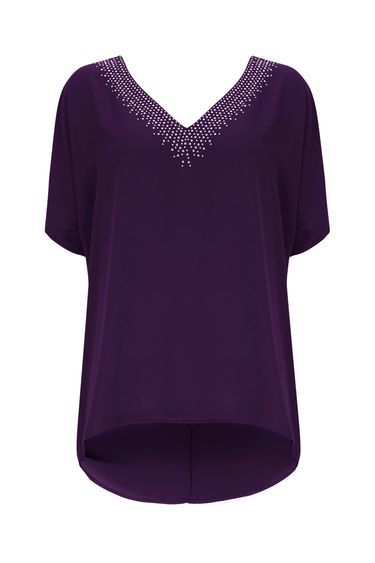 Purple V Neck Embellished Top - neckline: low v-neck; pattern: plain; predominant colour: purple; occasions: casual, creative work; length: standard; style: top; fibres: polyester/polyamide - 100%; fit: straight cut; sleeve length: short sleeve; sleeve style: standard; texture group: crepes; pattern type: fabric; embellishment: studs; season: a/w 2016; wardrobe: highlight; embellishment location: neck