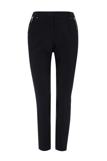 Petite Black Tapered Trouser - pattern: plain; waist: mid/regular rise; predominant colour: black; occasions: work; length: ankle length; fibres: polyester/polyamide - 100%; waist detail: feature waist detail; texture group: crepes; fit: slim leg; pattern type: fabric; style: standard; wardrobe: basic; season: a/w 2016