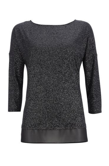 Black Sparkle Layered Top - neckline: slash/boat neckline; pattern: plain; style: t-shirt; secondary colour: silver; predominant colour: black; occasions: evening; length: standard; fibres: polyester/polyamide - stretch; fit: body skimming; sleeve length: 3/4 length; sleeve style: standard; pattern type: fabric; texture group: woven light midweight; season: a/w 2016; wardrobe: event; embellishment: contrast fabric; embellishment location: hip