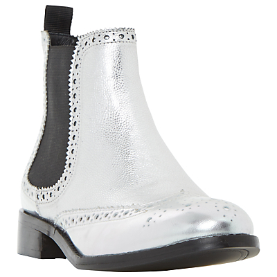 Quenton Brogue Chelsea Boots, Metallic - predominant colour: silver; occasions: casual, creative work; material: leather; heel height: flat; heel: block; toe: round toe; boot length: ankle boot; finish: plain; pattern: plain; style: chelsea; season: a/w 2016; wardrobe: highlight
