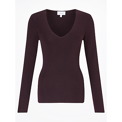 Silk Cotton V Neck Jumper - neckline: v-neck; pattern: plain; style: standard; predominant colour: aubergine; occasions: casual, creative work; length: standard; fibres: silk - mix; fit: slim fit; sleeve length: long sleeve; sleeve style: standard; texture group: knits/crochet; pattern type: knitted - fine stitch; pattern size: standard; season: a/w 2016