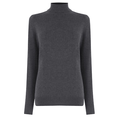 Polo Jumper - pattern: plain; neckline: roll neck; style: standard; predominant colour: charcoal; occasions: casual, creative work; length: standard; fibres: cotton - mix; fit: standard fit; sleeve length: long sleeve; sleeve style: standard; texture group: knits/crochet; pattern type: knitted - fine stitch; pattern size: standard; wardrobe: basic; season: a/w 2016