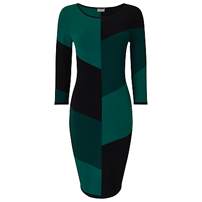 Abriana Block Dress, Green/Black - length: below the knee; neckline: round neck; fit: tight; style: bodycon; predominant colour: dark green; fibres: polyester/polyamide - stretch; occasions: occasion; sleeve length: 3/4 length; sleeve style: standard; texture group: jersey - clingy; pattern type: fabric; pattern size: big & busy; pattern: patterned/print; multicoloured: multicoloured; season: a/w 2016