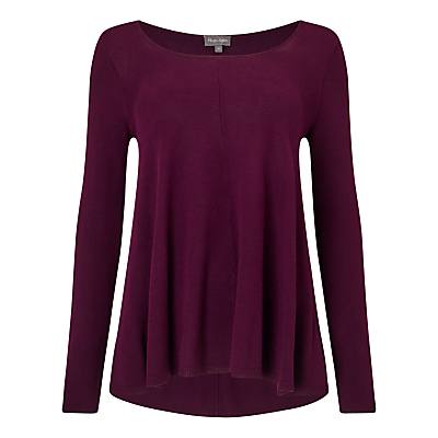 Amelia Swing Jumper, Blackcurrant - neckline: cowl/draped neck; pattern: plain; length: below the bottom; style: standard; predominant colour: aubergine; occasions: casual, creative work; fit: loose; back detail: longer hem at back than at front; sleeve length: long sleeve; sleeve style: standard; texture group: knits/crochet; pattern type: knitted - fine stitch; fibres: viscose/rayon - mix; season: a/w 2016; wardrobe: highlight