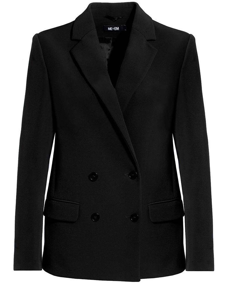 Tailored Box Blazer Black - pattern: plain; style: double breasted blazer; collar: standard lapel/rever collar; predominant colour: black; occasions: work; length: standard; fit: tailored/fitted; fibres: polyester/polyamide - 100%; sleeve length: long sleeve; sleeve style: standard; texture group: crepes; collar break: medium; pattern type: fabric; wardrobe: investment; season: a/w 2016